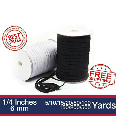 $ CDN10.89 • Buy Elastic Band 1/4 Inches Width (6mm) White/Black 5 Yard To 500 Yard Free Shipping