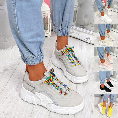 $ CDN29.98 • Buy Womens Ladies Chunky Platform Trainers Rainbow Lace Up Sneakers Party Shoes Size