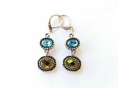 $ CDN15.22 • Buy Lia Sophia Dangle Earrings Antique Look Blue Topaz Aurora Borealis...