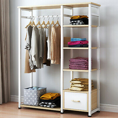 AU173.84 • Buy Wooden Open Wardrobe Hanging Rail Shelf Clothes Storage Bedroom Furniture AU