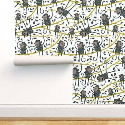 $41 • Buy Removable Water-Activated Wallpaper Monkey Nursery Decor Kids Room Animals Trees
