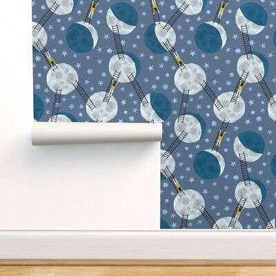 $41 • Buy Removable Water-Activated Wallpaper Moon Nursery Decor Kids Room Blue Night