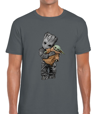 Baby Yoda Baby Groot Mens T Shirt Funny Cute Cool Design Star Avenger Jedi Wars • 6.99£