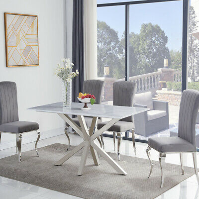 Riviera 1.6m White Marble 5 Piece Dining Table Set (Grey Liyana Chairs) • 1,197£