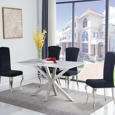 Riviera 1.6m White Marble 5 Piece Dining Table Set (Black Liyana Chairs) • 1,197£