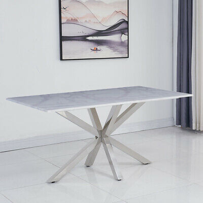 Riviera 1.6m White Marble 7 Piece Dining Table Set (Grey Belgravia Chairs) • 1,622.25£