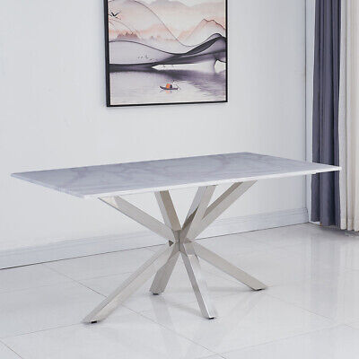 Riviera 1.6m White Marble 5 Piece Dining Table Set (Grey Belgravia Chairs) • 1,296.75£