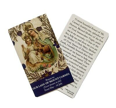 £1.50 • Buy OUR LADY OF MOUNT CARMEL Prayer Card - Wallet / Purse / Bookmark Size