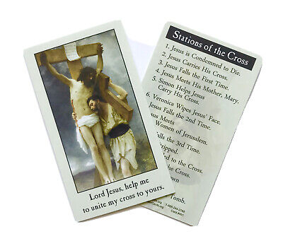 STATIONS OF THE CROSS - Wallet / Purse / Bookmark Size Prayer Card • 1.50£