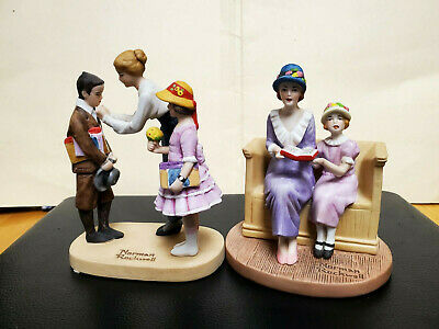 "$ CDN28.94 • Buy Lot (2)Norman Rockwell Figurines  Songs Of Praise"" &  First Day Of School'' 1984"