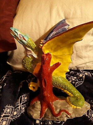 $12 • Buy Fantasy Collectible Winged Colorful Dragon Figurine  12  Tall Ceramic Pottery