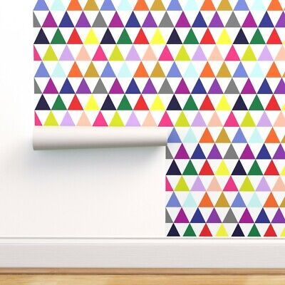 $23 • Buy Removable Water-Activated Wallpaper Geometric Mod Triangles Colorful Kids Room