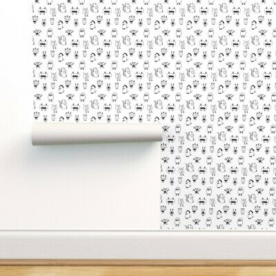 $29 • Buy Peel-and-Stick Removable Wallpaper Monster Monsters Black White Kids Room And