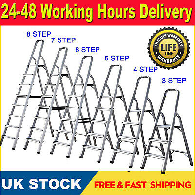 Aluminium Step Ladder 3 4 5 6 7 8 Step Stepladder DIY Tools Lightweight-Cheapest • 8.88£