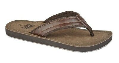 Mens Size 6 7 8 9 10 11 12 Faux Brown Leather Toe Post Strap Casual Beech Sandal • 16.32£