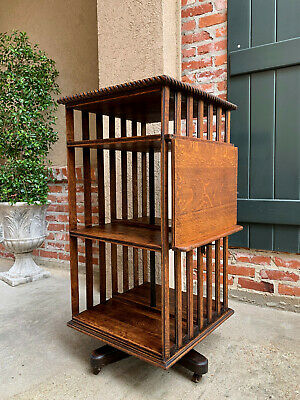 $1985 • Buy Antique English Oak Revolving Rolling Bookcase Bookshelf Arts & Crafts Library