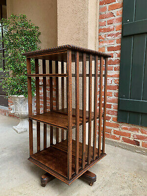 $1925 • Buy Antique English Tiger Oak Revolving Rolling Bookcase Bookshelf Arts & Crafts