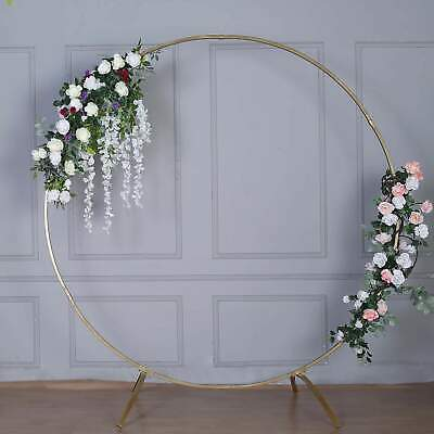 $98.99 • Buy 7.5 Ft Gold Metal Wedding Arch Photo Booth Backdrop Stand - 100 Lbs Capacity