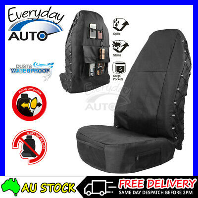 AU51.90 • Buy Waterproof Poly Canvas Slip On Throw Over Single Seat Cover Airbag Compatible AU
