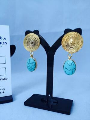 Earrings Bollywood Antique Style Gold Colour With Stones • 5.99£