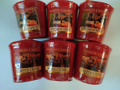 Yankee Candle Votives / Kitchen Spice & Apple Cider / Lot Of 6 Candles • 12.78£