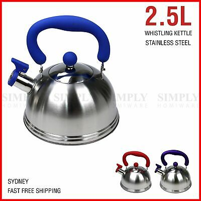 AU29.90 • Buy Whistling Kettle Stainless Steel Silver Tea Teapot Camping Stove Top 2.5L Black