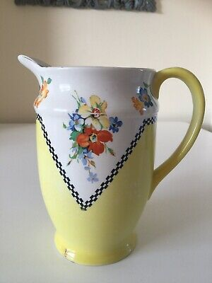 LARGE Vintage Flower Jug. Floral Yellow Made In England • 6.99£