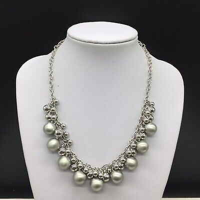 $ CDN23.14 • Buy Lia Sophia Silver Tone Chain Bauble Cluster Beaded Statement Necklace