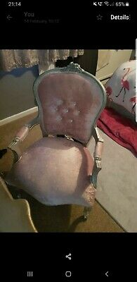 French Louis Pink Crushed Velvet And Diamante Chair • 90£
