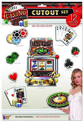 $9.99 • Buy CASINO NIGHT Wall Cutouts Party Room Decorations Cards Poker Chips Roulette Slot
