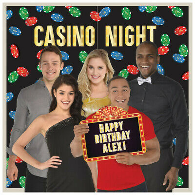 $14.99 • Buy CASINO Night SCENE SETTER Party Wall Decoration Photo Booth Props Chips Backdrop