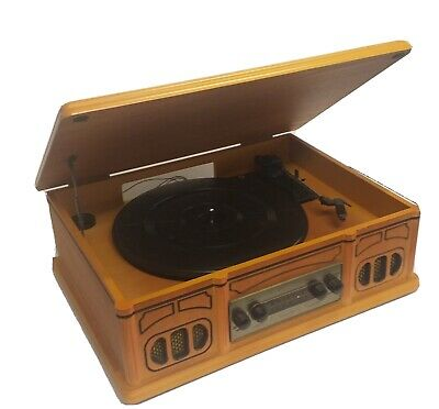 AU80 • Buy Record Player With AM/FM Radio Reproduction Antique Look Timber