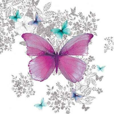 £5.59 • Buy Pack Of 20 Decoupage Napkins Purple Butterfly, Table Decoration, Party