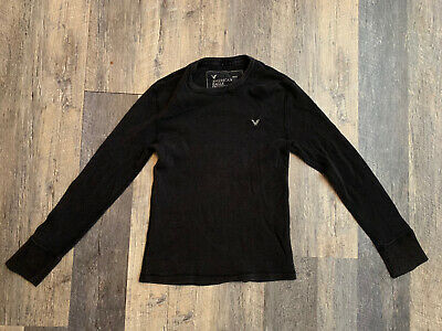 $4.99 • Buy Mens American Eagle Black Long Sleeve Thermal T Shirt Size Small