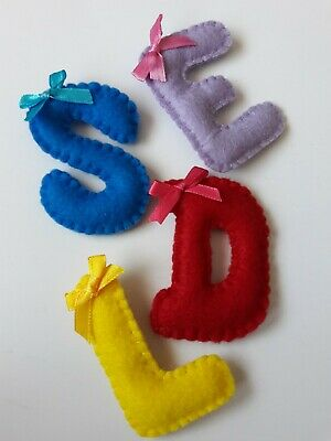 £2.25 • Buy Handcrafted Felt Letter Brooches. Any Letter, Any Colour. 7cm X 5cm.Bow Optional