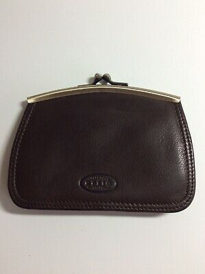 $12.99 • Buy ~relic~brown Leather Kiss-lock Coin Purse / Credit Card Holder Vintage, Euc