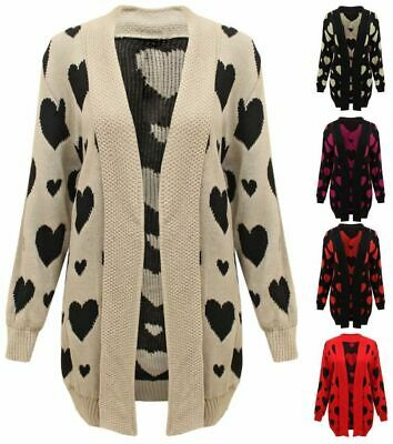 New Ladies Heart All Over Knitted Open Cardigan Long Sleeve Plus Big Sizes 16-24 • 10.95£