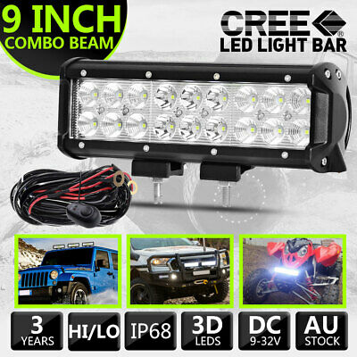 AU36.99 • Buy 1x 9'' Inch LED Light Bar Spot Flood Combo Work OffRoad Driving Lamp Vs 8  +Wire