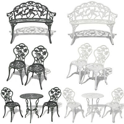 Cast Aluminium Cafe Bistro Set Garden Table Chairs Outdoor Bench Home Furniture~ • 166.69£