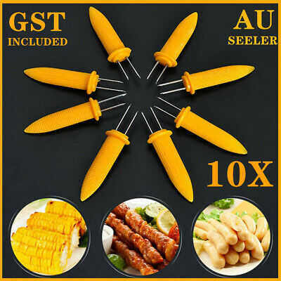 AU5.99 • Buy 10x Corn Cob Holders Skewers Barbecue Fork Fruit Holder BBQ Kitchen Accessories
