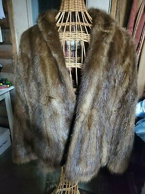 $40 • Buy Vintage Cownie Real Fur Stole Sleeveless Jacket Or Coat - Initials  B M L