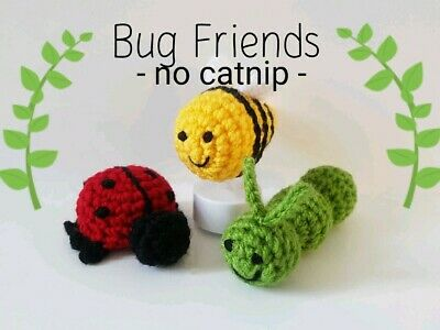 Crochet Knitted Handmade Soft Toy Gift Bug Insects Ladybird Caterpillar Bee • 10£