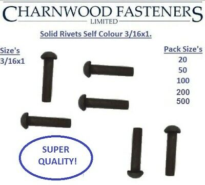 £9 • Buy Solid Round Head Rivets Self Colour Mild Steel 3/16x1 Inch