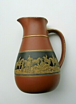 Victorian Terracotta Red Earthenware Pratt Ware Jug With Hunting Scene • 7£