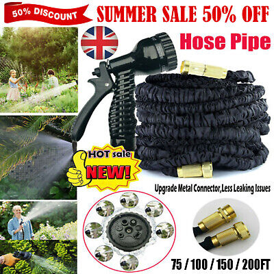 75-200FT Expanding Flexible Expandable Garden Water Hose Pipe + Spray Nozzle NEW • 15.74£
