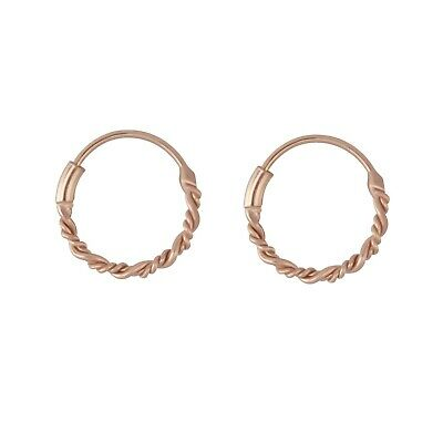 AU12.95 • Buy 14k Rose Gold On 925 Sterling Silver Petite Twisted Hoop Huggies Stud Earrings