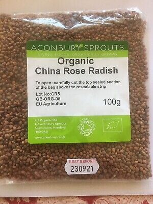 £3.49 • Buy Best Organic China Rose Radish 100g Specialist Sprouting Seeds Aconbury Sprouts