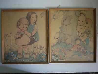 £25 • Buy Vintage Pair Mabel Lucie Atwell Prints Framed Pictures Classic Kitsch Cute Kids