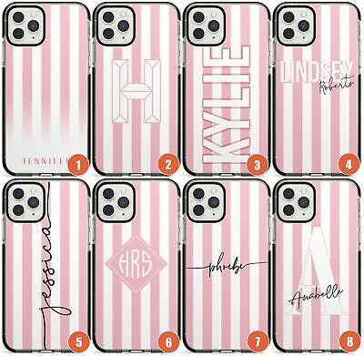 Personalised Pink Stripe Impact Phone Case For IPhone | Customised Name Striped • 9.95£