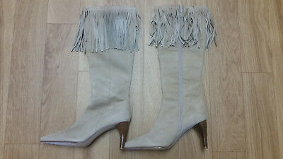 $13 • Buy Amanda Smith- Christie Brown Suede Fringe Knee Boots Heels Shoes Size 10 1/2